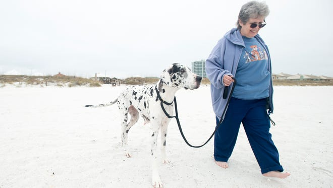Susan Robinson, of Dallas, TX, walks with her dog Riddle at the dog beach in Pensacola on Wednesday, December 14, 2016.