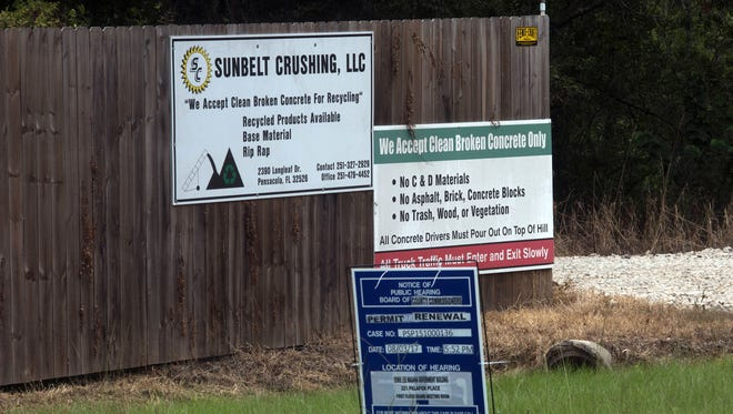 Escambia County commissioners have delayeda vote on whether to renew the recycling permit of Sunbelt Crushing LLC. The business operates in an area where landfills and borrow pits have historically caused health problems for residents, and commissioners rescheduled the vote so county staff can see if additional safety measures are needed.