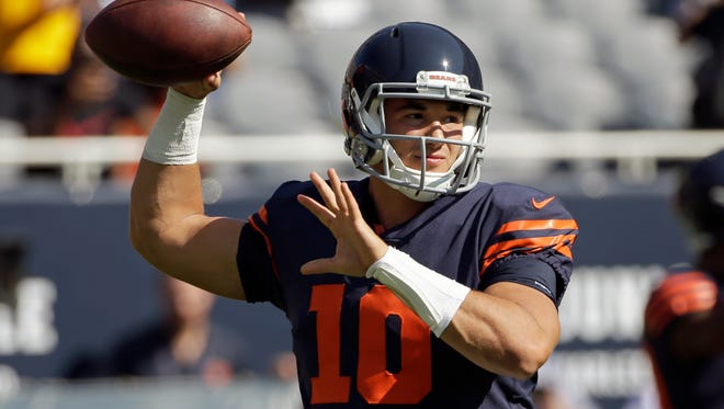 Chicago Bears quarterback Mitchell Trubisky (10) warms up before an NFL football game against the Pittsburgh Steelers on Sept. 24, 2017.