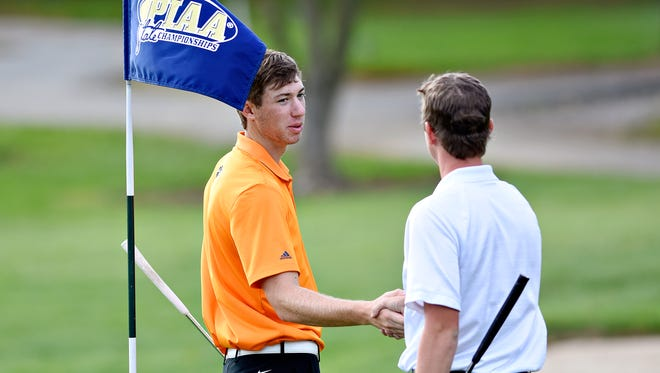 Central York's Joe Parrini finishes the second day of the PIAA State Golf Championships at Heritage Hills Golf Resort and Conference Center in Springettsbury Township, on Tuesday, Oct. 24, 2017. Heritage Hills will keep the state golf championships for another four years. Dawn J. Sagert photo