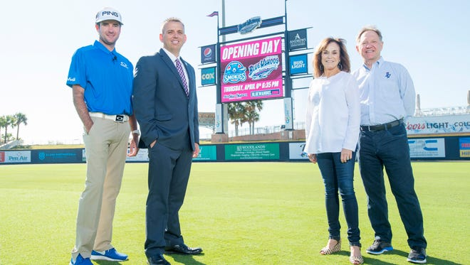 (Left to right) Bubba Watson, Jonathan Griffith, Rishy Studer, and Quint Studer at Blue Wahoos stadium in Pensacola on Friday, March 31, 2017.