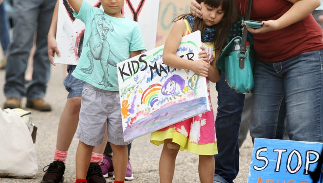 Many families from neighboring counties and cities attended a protest on Sunday, June 24, 2018 organized by SAW Citizen Action Network in support of the immigrant teens who are alleging abuse by the Shenandoah Valley Juvenile Center in Verona.