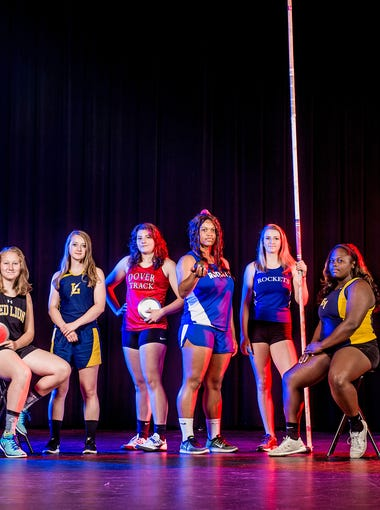 GameTimePA's all-star girls' track and field athletes from left to right: York Suburban's Maddie James, Red Lion's Kiersten Lloyd, Red Lion's Madisen Kling, Littlestown's Kristin Langrill, Dover's Emily Eckard, Spring Grove's Airika McCaskill, Spring Grove's Nathalie Elliott, Eastern York's Ashley Kerr, Eastern York's Maddie McLain and West York's Tesia Thomas. Picture taken Tuesday, May 30, 2017, at Central York.