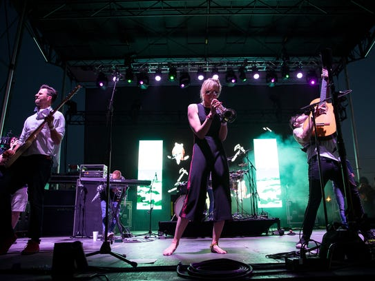 Jenny and the Mexicats preform during Fiesta de La