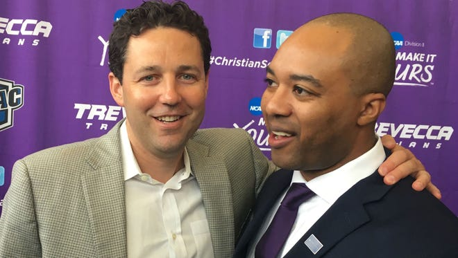 Vanderbilt basketball coach Bryce Drew, left, congratulates his former Commodores assistant Omar Mance, who was named Trevecca's new coach on Friday.