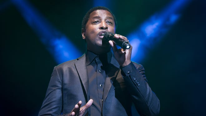 """Indiana native Kenny """"Babyface"""" Edmonds performs as the feature act on stage. The Indiana Black Expo Summer Celebration concert was held at Bankers Life Fieldhouse, Saturday, July 19, 2014, featuring performances by Anthony Hamilton, Babyface and Chrisette Michele."""