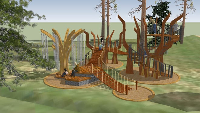 "Four ""ultimate cool green tree houses"" have been built at the Roper Mountain Science Center"