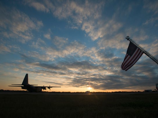 A C-130 returns home after a four month deployment