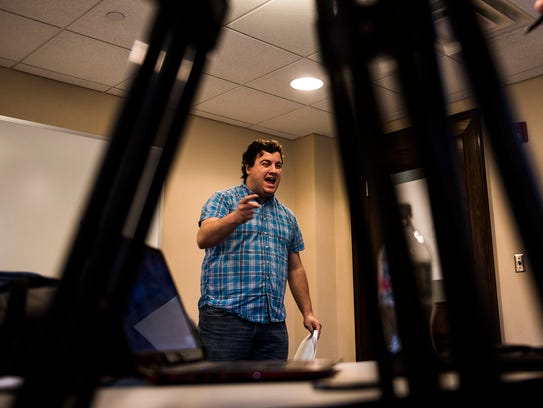 Adam Sontag, of Hanover, acts out a speaking role during