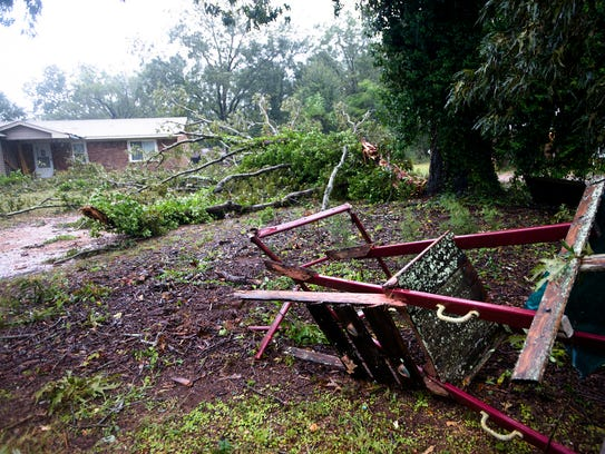 Storm damage in Autaugaville, Ala., off of Highway