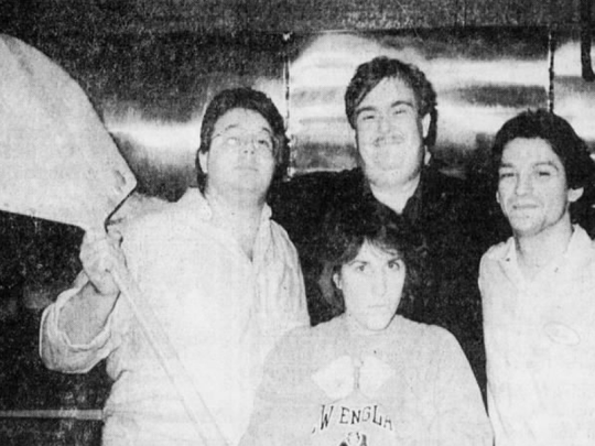 After entertaining and cooking for a few lucky Batavians in 1987, actor John Candy posed with, from left, Sheraton Inn chef Todd Seligman, Debbie Clark and Nick Cinquino, manager of The Pizza Partners restaurant.