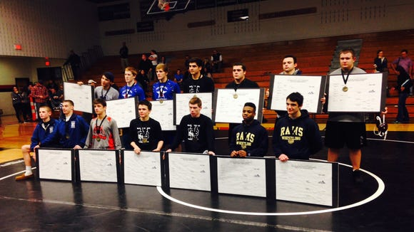 Roberson's Issac Jimenez was among the 14 weight-class winners at Saturday's Mountain Athletic Conference wrestling tournament in Weaverville.
