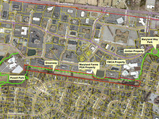 The proposed trail route for a paved path that would