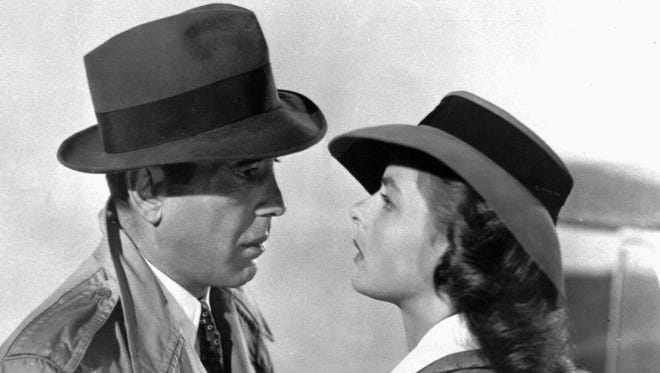 This studio publicity file photo shows actors Humphrey Bogart and Swedish-born actress Ingrid Bergman in a scene from the 1943 classic film Casablanca.
