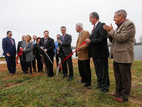 Officials involved with the Nixa Solar Energy Farm