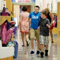 Students fill the halls Monday August 31, 2015 at Christ Child Academy in Sheboygan.