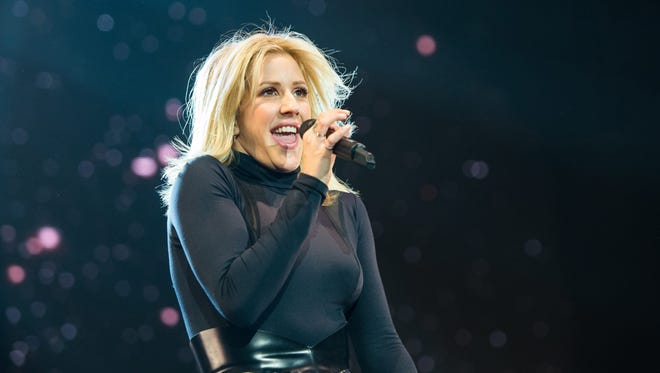 Ellie Goulding performs during her concert at the Barclaycard Arena in Hamburg, Germany, on Jan. 21, 2016.