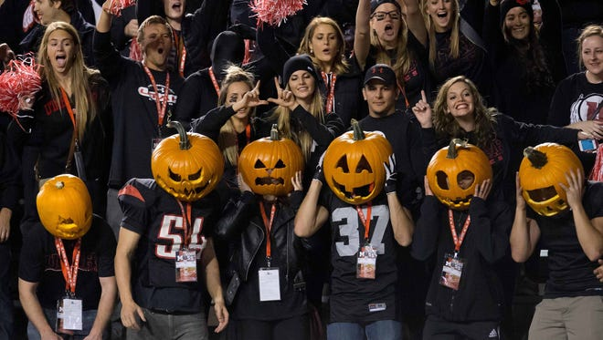 Oct 25, 2014: Utah Utes fans during the first half against the USC Trojans at Rice-Eccles Stadium.