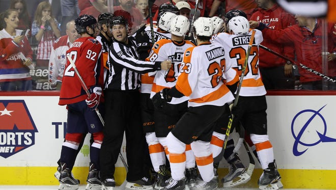 The Flyers and Capitals have had plenty of activity after the whistles in the first five games of the series.