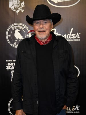 Bobby Bare on the red carpet at the Merle Haggard Tribute concert at Bridgestone Arena Thursday, April 6, 2017 in Nashville, Tenn.