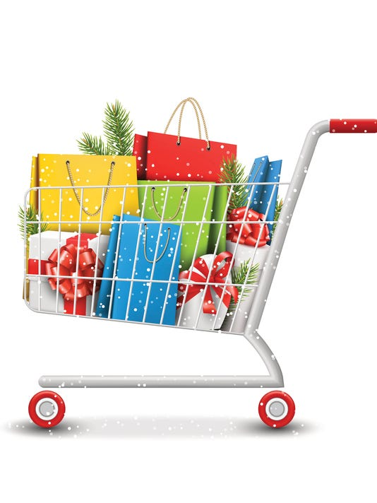 Sale Shopping Cart with Bags Gift Boxes and Pine Branches