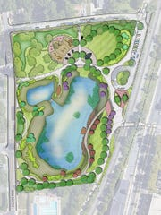 This diagram shows the proposed layout for a new park