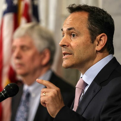 Governor Matt Bevin addresses a crowd in the Capitol rotunda to announce a reshaping of Kentucky's Medicaid program. June 22, 2016
