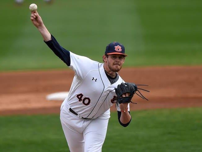 Auburn starting pitcher Gabe Klobosits could only get through three innings in the 7-6 loss to Sacramento State on Feb. 21.