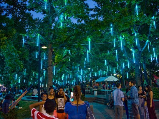 "The proposed Rotary Park in downtown Lansing would have a ""lighted forest"" feature."