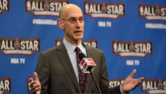 NBA Commissioner Adam Silver speaks to the media at the Air Canada Centre in Toronto, Ontario, Canada, 13 February 2016. This is the first time the NBA All-Star game has been held outside the United States.