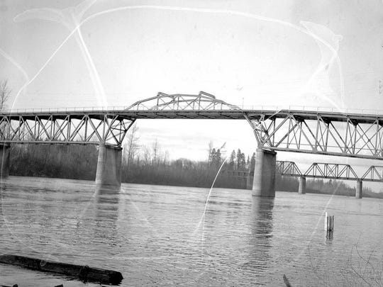The Center Street Bridge is seen in the 1940s. It opened in July 1918.