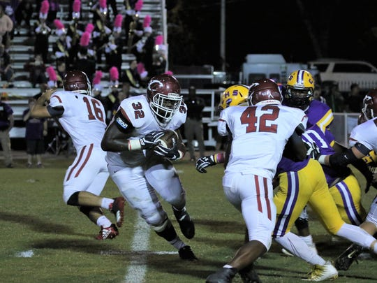 Crockett County running back Jordan Branch carries