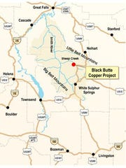 A location map of the Black Butte Copper Project.