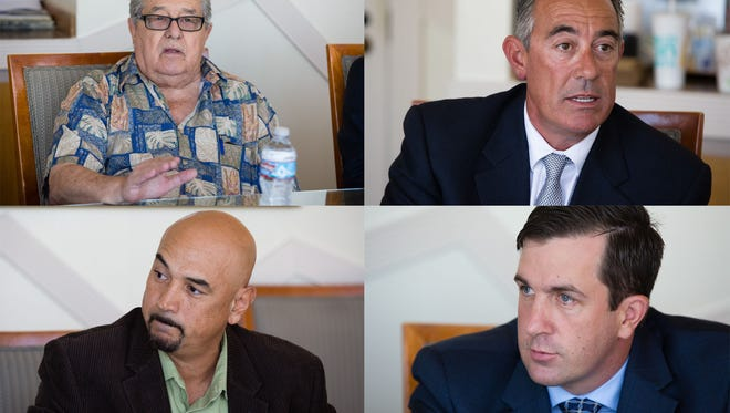 Candidates for Coachella Valley Water District, clockwise from the upper left, are incumbent Ed Pack and challengers Anthony Bianco, Jim Schmid and Sergio Núñez. Pictured Sept. 15, 2016.