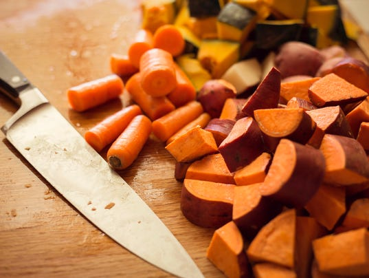 Chopped root vegetables in the kitchen