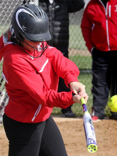 Muskego's Chelsea Scholbe connects at home against Homestead on April 29.
