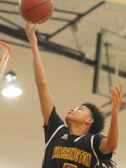 Washington's Josh Sproul goes for a layup against Snow Hill on Tuesday at Snow Hill High School.