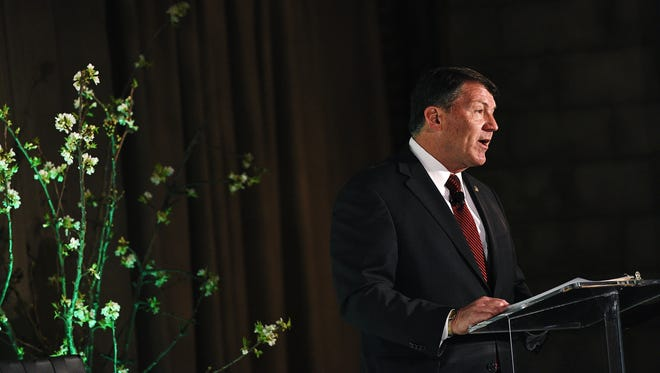 "U.S. Sen. Mike Rounds, R-S.D., speaks during the USA TODAY/Wells Fargo ""The Real Economy"" panel discussion Wednesday, May 4, 2016, at Icon Lounge in Sioux Falls."
