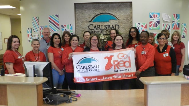 Carlsbad Medical Center and Pecos Valley Physician Group employees kicked off American Heart Month by participating in National Wear Red Day on Feb. 2 to help raise awareness of heart disease in women.
