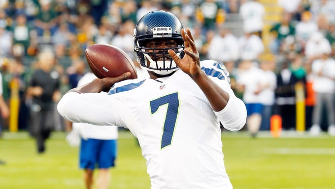 Seattle Seahawks' Tarvaris Jackson before an NFL football game against the Green Bay Packers Sunday, Sept. 20, 2015, in Green Bay, Wis.