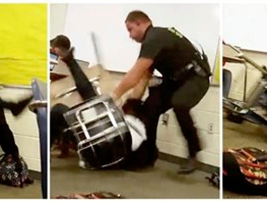 This three image combo made from video taken by a Spring Valley High School student on Monday, Oct, 26, 2015, shows Senior Deputy Ben Fields trying to forcibly remove a student from her chair after she refused to leave her high school math class, in Columbia S.C. The Justice Department opened a civil rights investigation Tuesday after Fields flipped the student backward in her desk and tossed her across the floor.