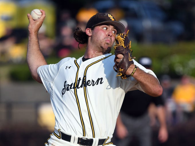 Southern Miss pitcher Jarod Wright throws the ball