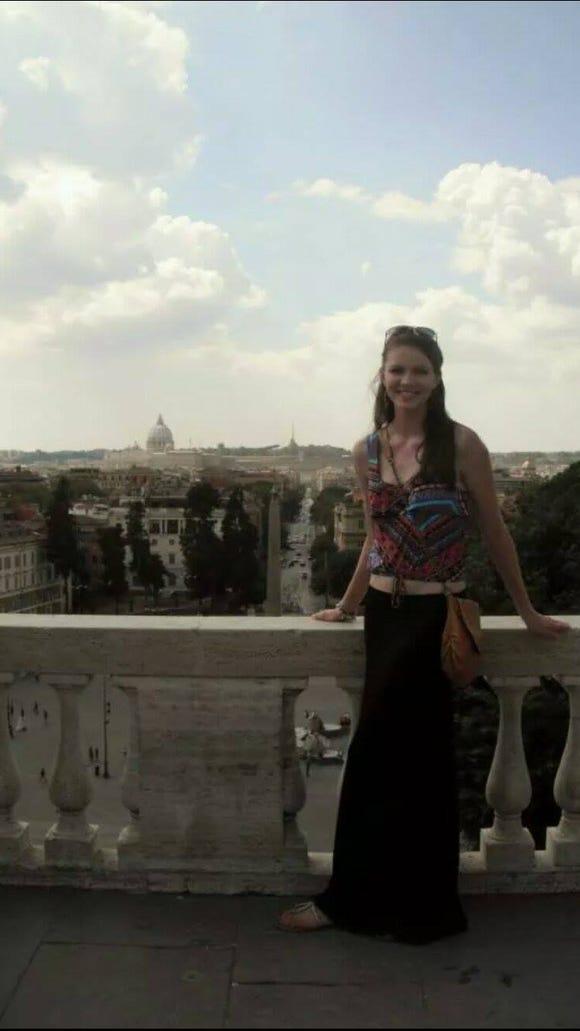 Lisa Drusedum '16 poses in the Villa Borghese gardens in Rome, overlooking the Piazza del Popolo. (Photo courtesy of Lisa Drusedum)