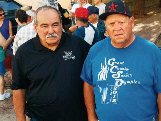 Former State Representative Rudy Martinez, left, and Mario Quintana, former Grant County Senior Olympics event coordinator, were with the group of residents excluded from a Senior Olympics board meeting on Tuesday. Jared Hamilton - Sun-News