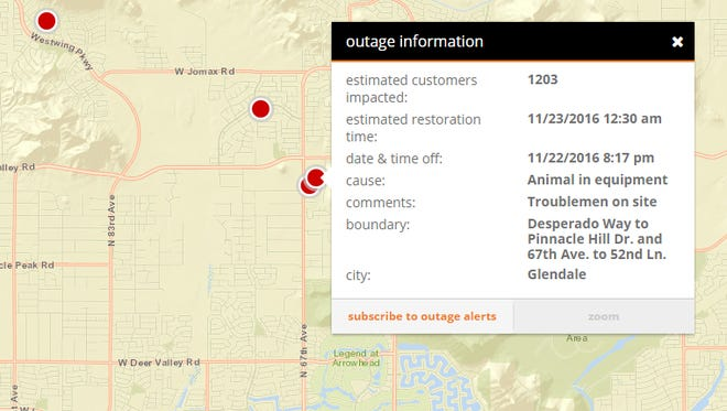 The outages were caused by an animal getting in the electrical equipment, APS said Tuesday evening.