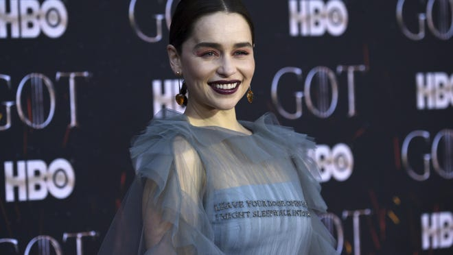 """Emilia Clarke attends HBO's """"Game of Thrones"""" final season premiere at Radio City Music Hall on Wednesday, April 3, 2019, in New York."""