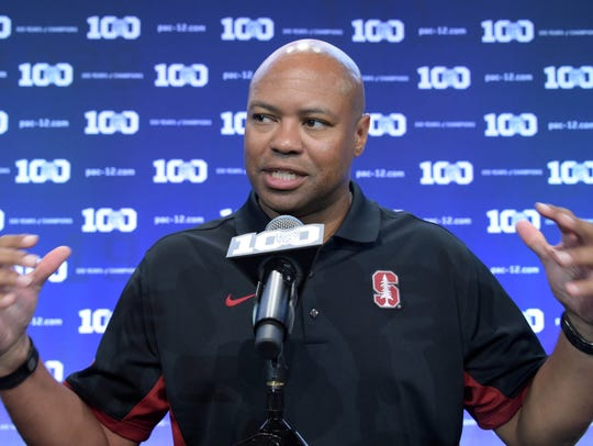 Stanford football coach David Shaw speaks at Pac-12