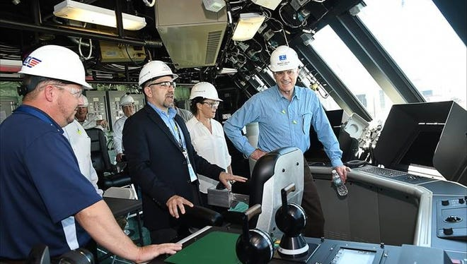 U.S. Navy Secretary Richard Spencer (right) on the bridge of the future USS Wichita during a tour of Fincantieri Marinette Marine Thursday June 28, 2018