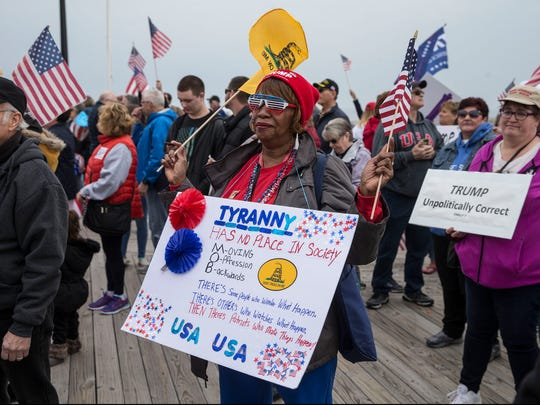 Barbara Myrick of Edison shows support for the president. A rally in support of President Donald Trump takes place on the south end of the Seaside Heights boardwalk. Hundreds of people voiced their support during the Make America Great Again march.   Seaside Heights, NJSaturday, March 24, 2017@dhoodhood