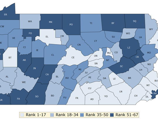 York County ranked No. 13 out of Pennsylvania's 67